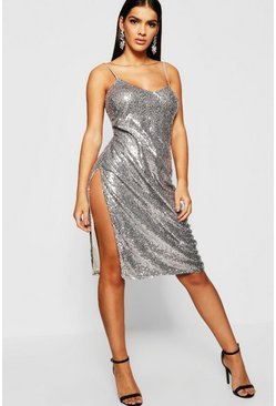 Womens Silver Sequin Plunge Midi Slip Dress