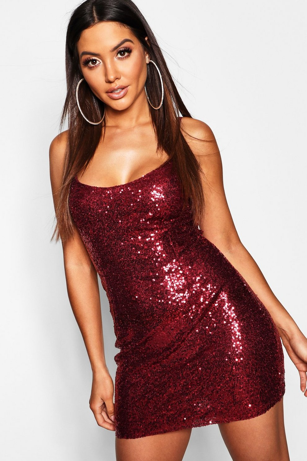 223808c0 Sequin Strappy Bodycon Dress | Boohoo