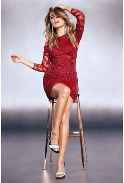 Womens Red Premium Embellished Mesh Cut Out Mini Dress