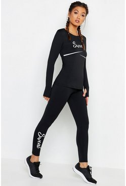 Womens Black Fit Foil Slogan Running Leggings