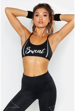Womens Black Fit Foil Slogan Sports Bra