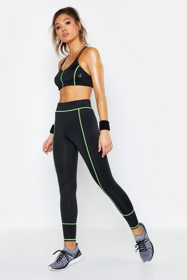 Womens Black Fit Neon Contrast Stitch Contour Leggings