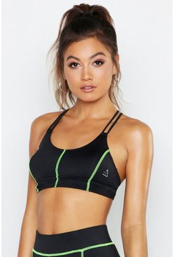 Womens Black Fit Neon Contrast Stitch Medium Support Sports Bra