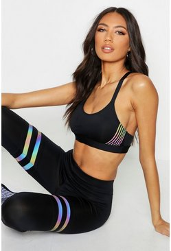 Womens Black Fit Iridescent Stripe Medium Support Sports Bra