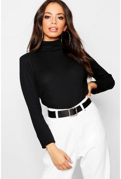 Womens Black Roll Neck Rib Knit Top