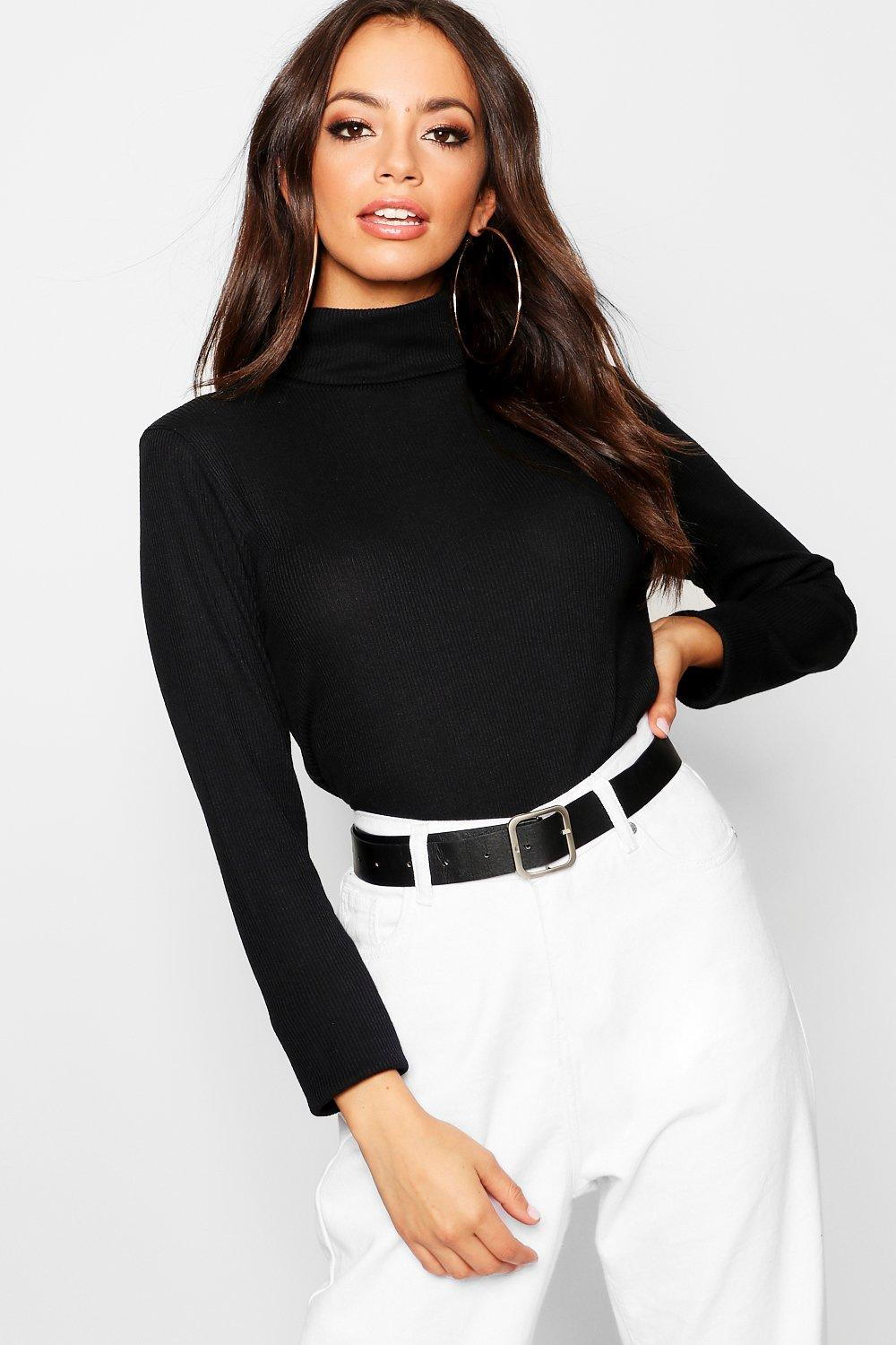 Top Neck Roll black Knit Rib qaHHdt1