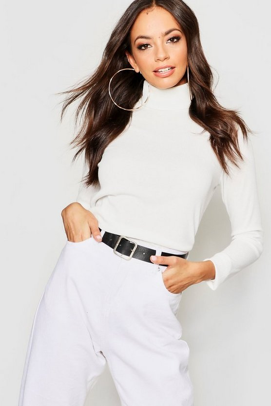 Womens Cream Roll Neck Rib Knit Top