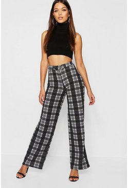Womens Black O Ring Detail Check Knit Trouser