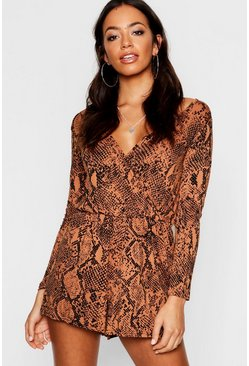 Womens Tan Snake Print Wrap Playsuit