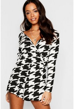 Womens Black Dogstooth Wrap Playsuit