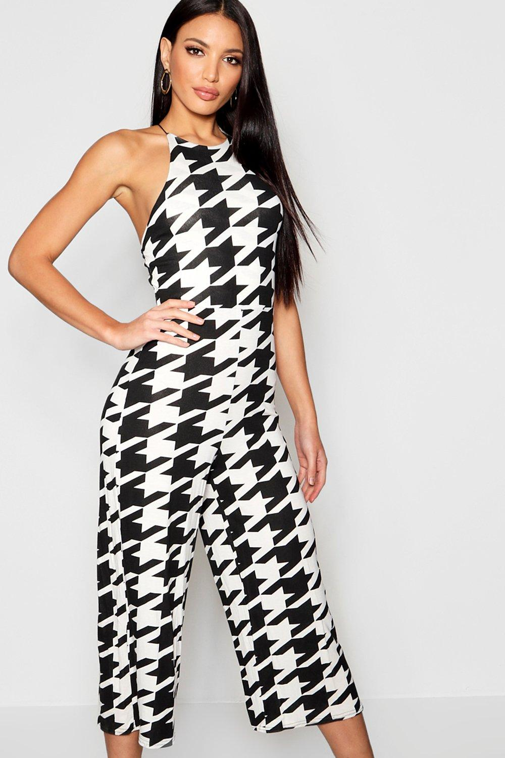 Dogstooth High Neck Jumpsuit