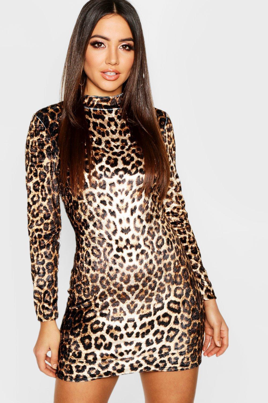 a670e72edc43 ... Long Sleeve Leopard Velvet Mini Dress. Hover to zoom