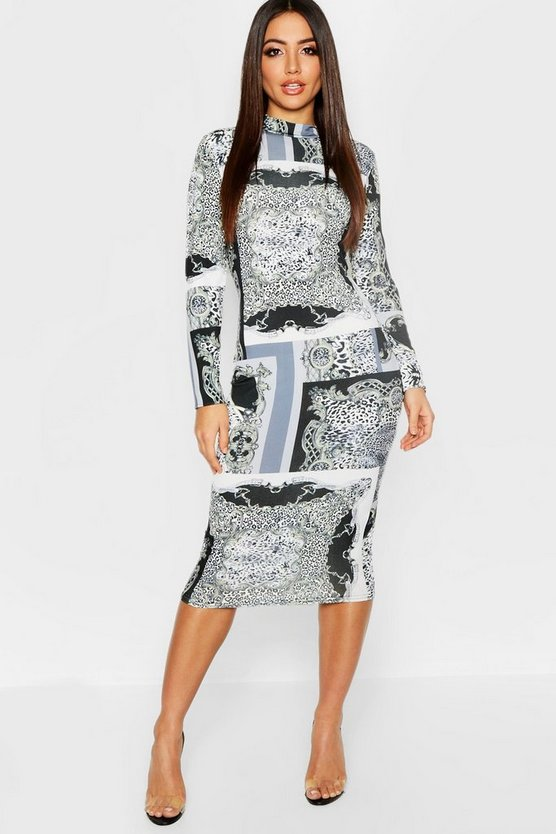 Leopard + Chain Mix Print High Neck Long Sleeve Midi Dress