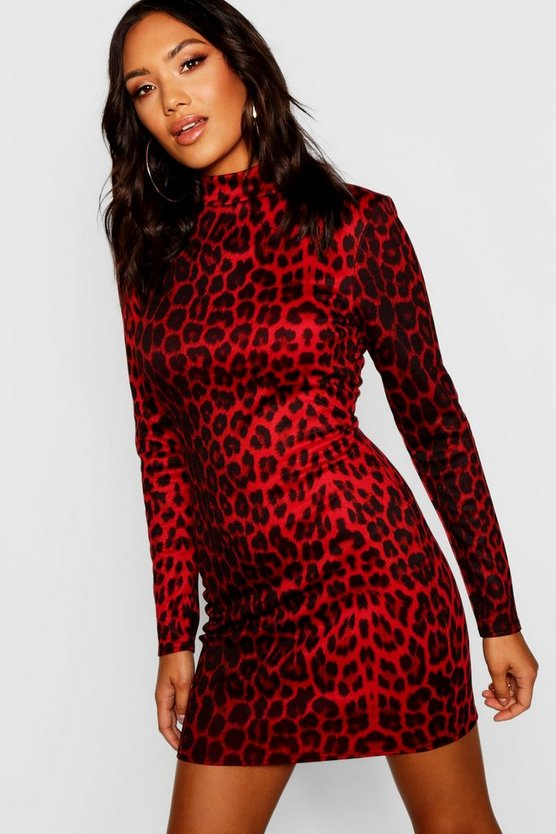 High Neck Long Sleeve Leopard Mini Dress