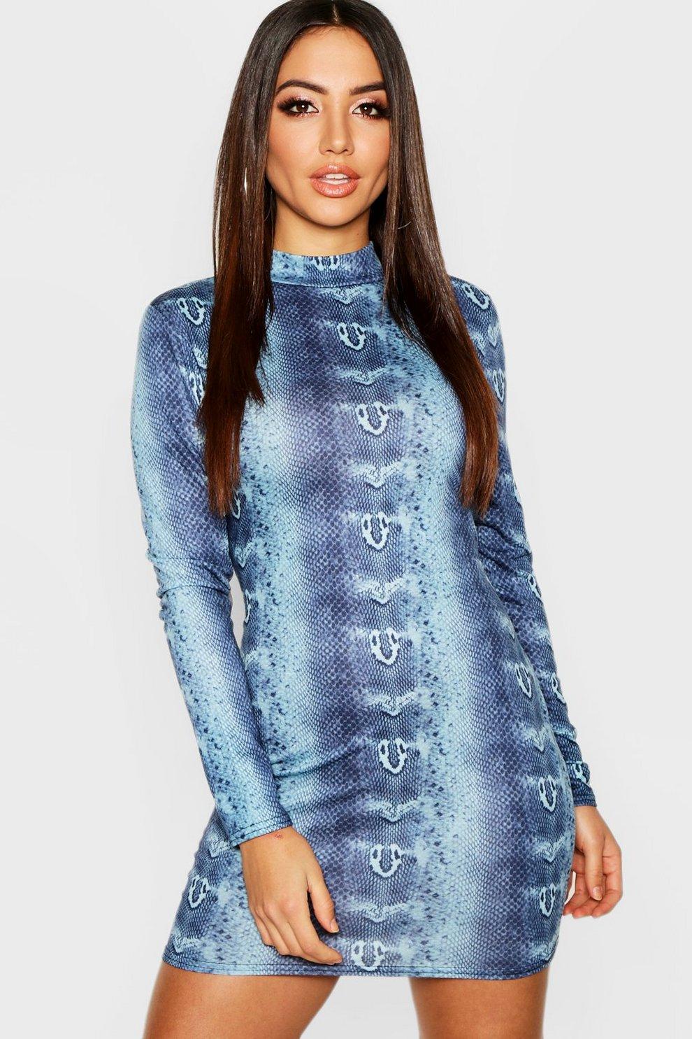 9edc4a28c4b8 High Neck Long Sleeve Snake Print Mini Dress   Boohoo