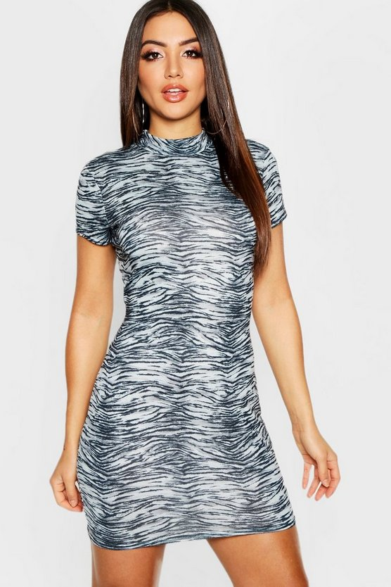 Womens Grey High Neck Cap Sleeve Zebra Mini Dress