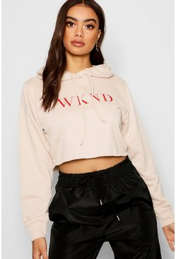 Womens Ecru Slogan Cropped Hoody