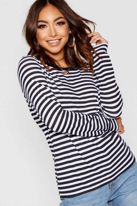 Womens Black Long Sleeve Stripe Ringer T-Shirt