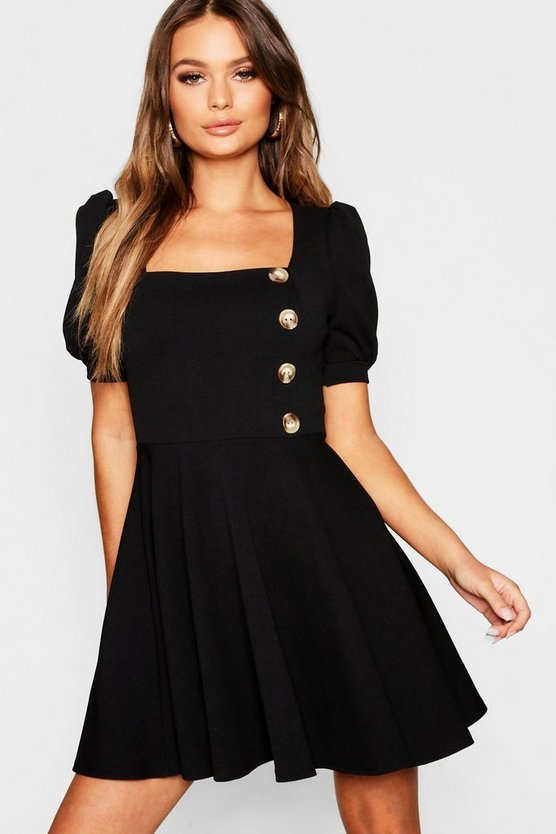 Womens Black Puff Sleeve Button Down Skater Dress