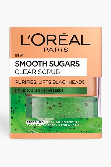 Womens Green L'Oreal Sugar Clear Kiwi Face & Lip Scrub 50ml
