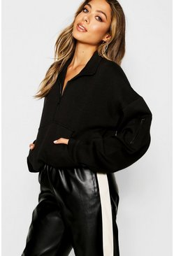 Black Zip Front Oversized High Neck Sweat
