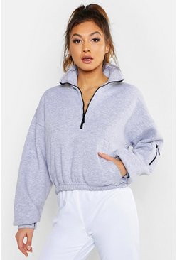Womens Grey Zip Front High Neck Sweat