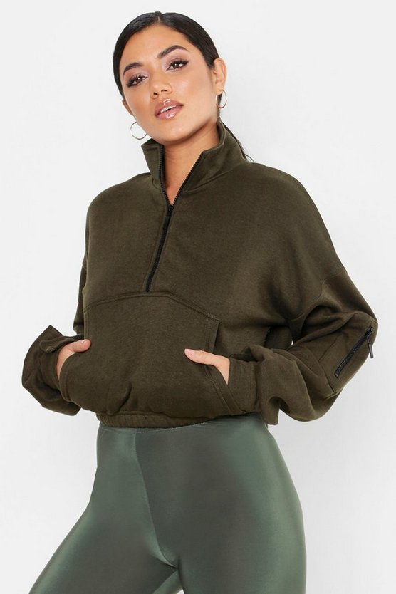 Womens Khaki Zip Front High Neck Sweat