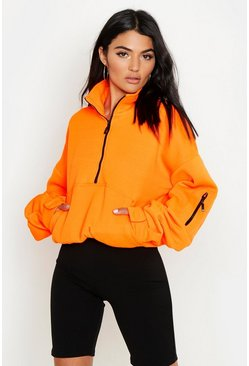 Womens Neon-orange Zip Front Oversized High Neck Sweat