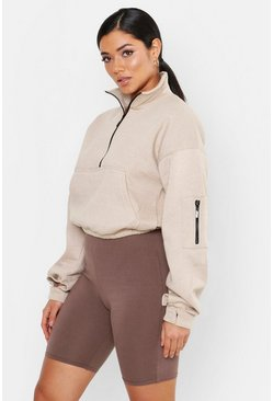 Womens Sand Zip Front High Neck Sweat