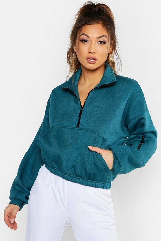Womens Teal Zip Front High Neck Sweat