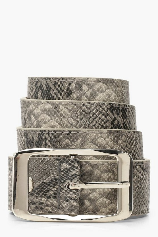 Black Faux Snake Belt With Silver Buckle