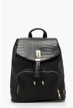 Womens Black Croc Flap PU Rucksack