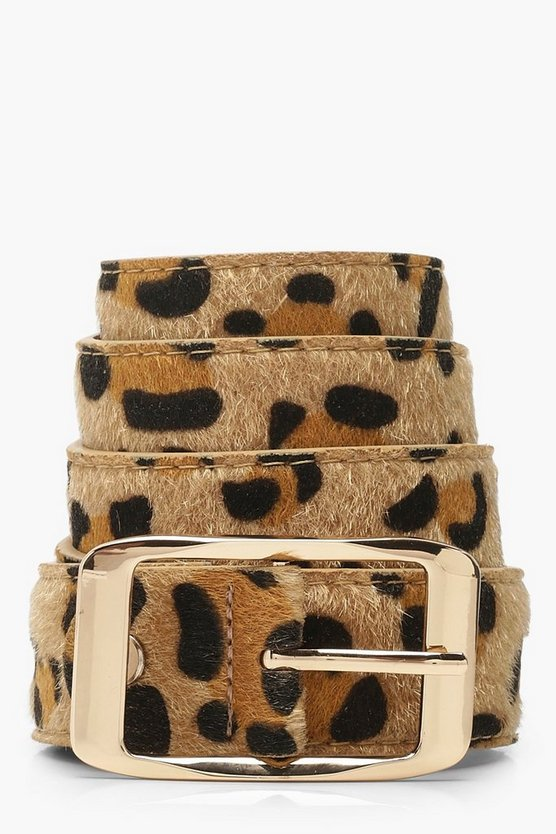 Womens Brown Leopard Belt With Gold Buckle