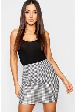 Black Dogtooth Mini Skirt