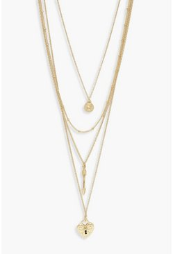Womens Gold Arrow & Locket Layered Necklace