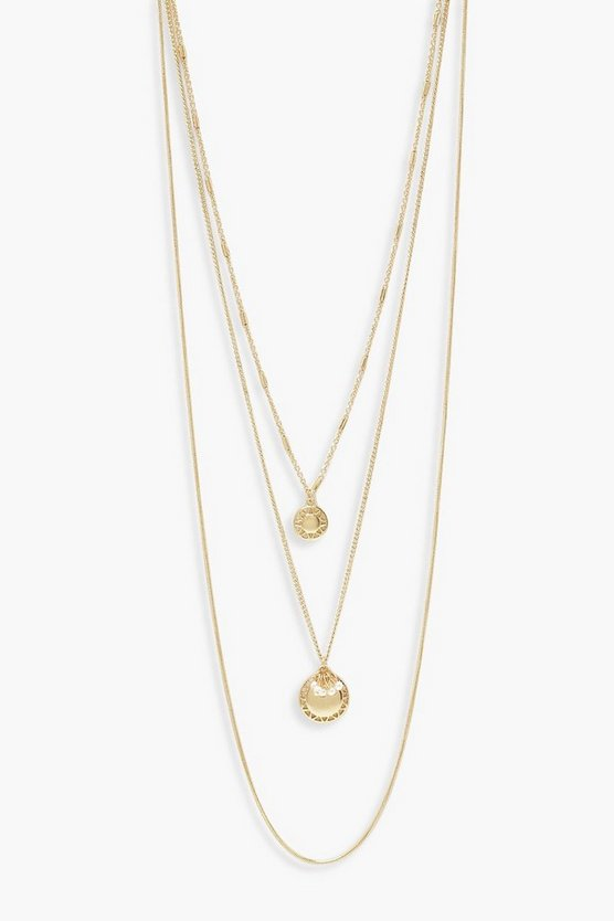 Womens Gold Double Layered Pearl Coin Necklace