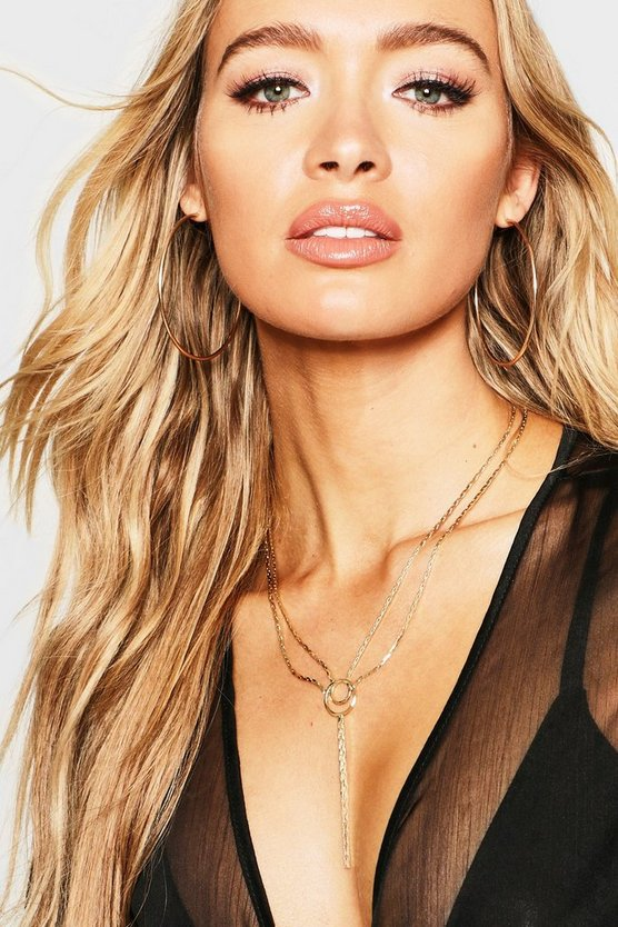 Gold Double Chain & Ring Plunge Necklace