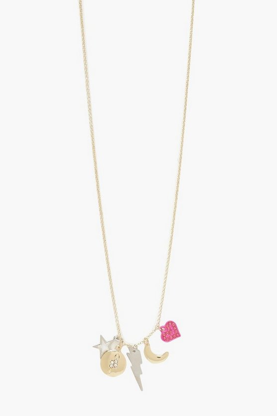 Womens Multi Lightning Bolt & Star Necklace