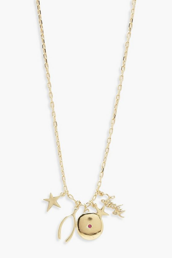 Womens Gold Lucky Star & Wishbone Skinny Necklace