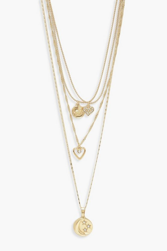 Womens Gold Moon And Heart Layered Necklace