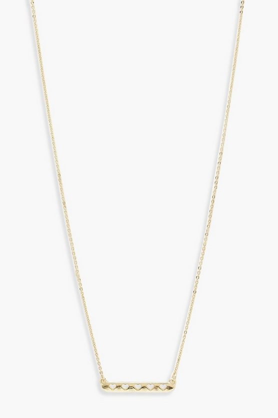 Womens Gold Heart Bar Skinny Necklace