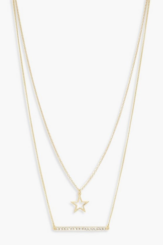 Womens Gold Star And Bar Necklace Pack