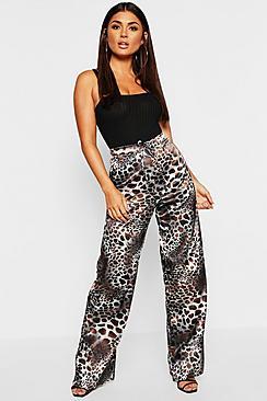 Leopard Print Satin Drawstring Wide Leg Pants