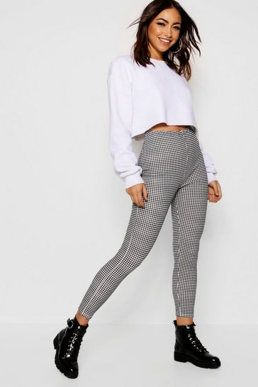 Womens Black Dogtooth Crepe Leggings
