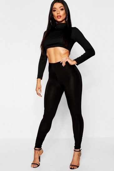Womens Black Slinky Ruched Leggings