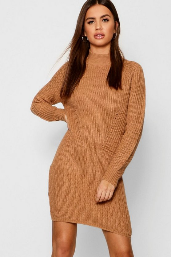 Womens Camel Raglan Sleeve Knitted Dress