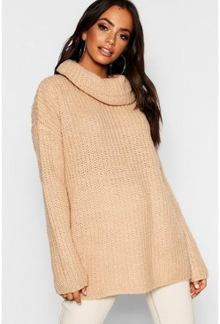 Womens Camel Cowl Neck Fisherman Jumper