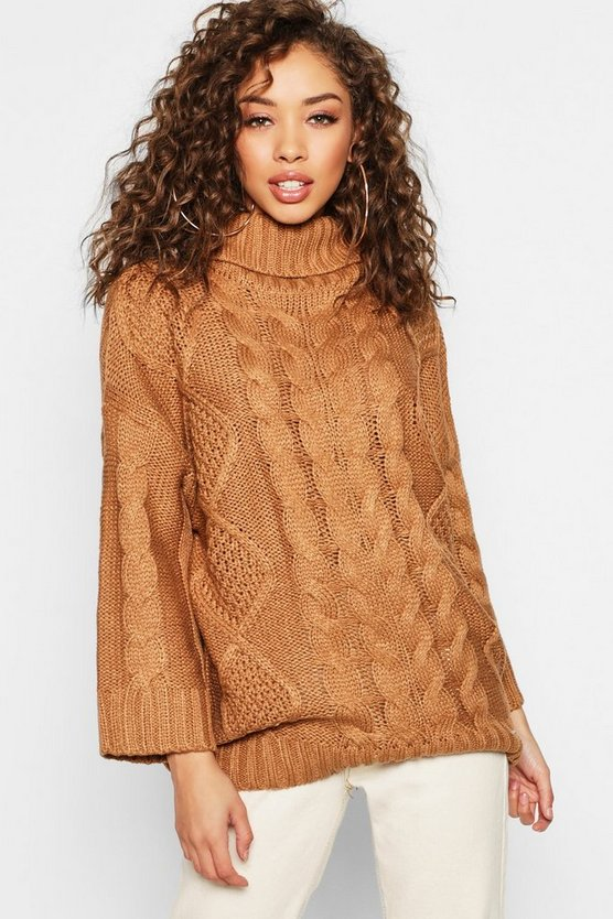 Oversized Roll Neck Cable Sweater