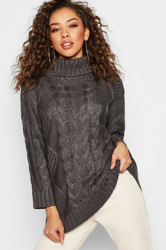 Womens Grey Oversized Roll Neck Cable Sweater