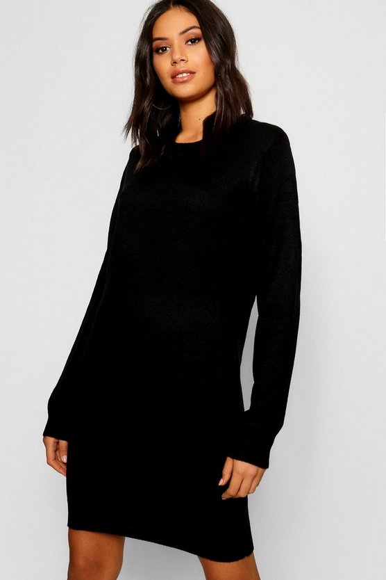 Womens Black Long Sleeve Dress